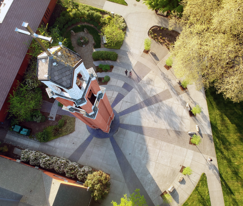 university of portland bell tower plaza aerial